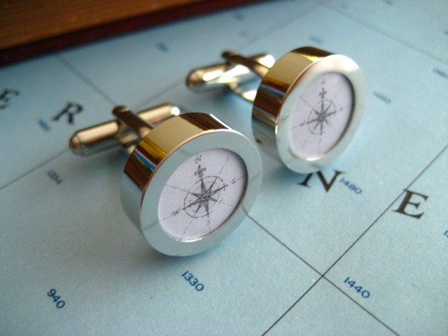 men's compass cufflinks