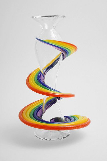 °RainBow Glass Vase made from a design drawing by Alexis (age 6) in a You Design It, We Make It! show at the Hot Glass Show at The Corning Museum of Glass.