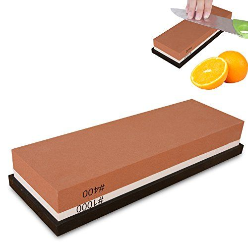 Premium Knife Sharpening Stone, 2-Sided 400/1000 Grit Whetstone, Best Home Sharpener Stones with Rubber Holder, Best for Kitchen & Outdoor Knives etc.  Multi-Use: Suitable for most grinding operations at home, such as Kitchen knife, outdoor knife and all types of steel tools, but except serrated blades and ceramic knife etc. (Note?Please soak the stone in water for 10 min prior to use.)  2-in-1 Whetstone: One knife sharpening stone does it all - Coarse side (400 grit) quickly sharpen d...