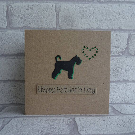 Schnauzer Fathers Day card. This handmade card has the silhouette of a Schnauzer (standard, miniature or giant) with a gem heart.  This dog Fathers Day card has a silhouette of a Schnauzer with gems in the shape of a heart. The colour of the shadow of the dog and the gems can be selected from the drop-down menu on this handmade card. The sentiment on this card is added with 3D foam and reads: Happy Fathers Day. Other messages are available in the drop-down menu and this would also make a…