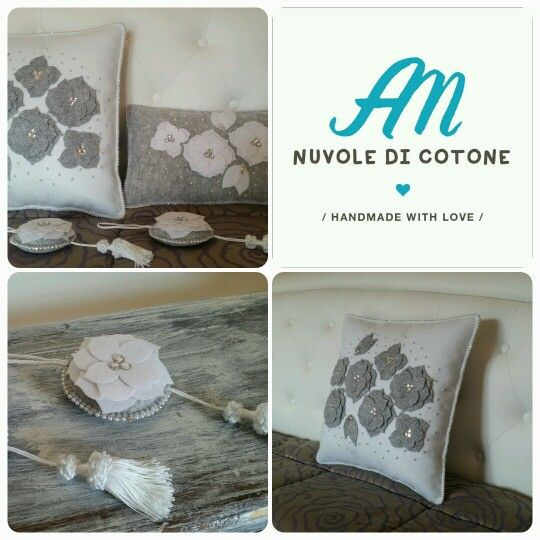 #lovedecor #giftideas #handmadewithlove #white #grey #pillows #shabbychic #flowers #perline&strass #beads #arredareconamore