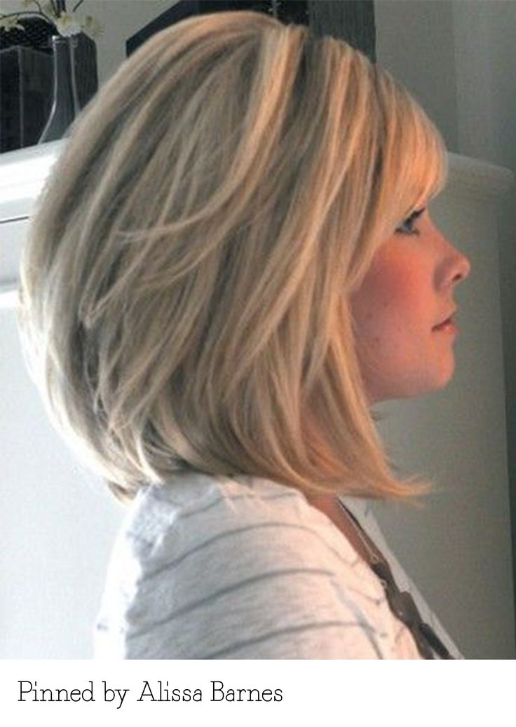Long layered bob with bangs. Pinned by Alissa Barnes. Recreate it here... http://myhairdressers.com/hairdressing-training/classics-hair-cutting/concave-layered-long-bob.html