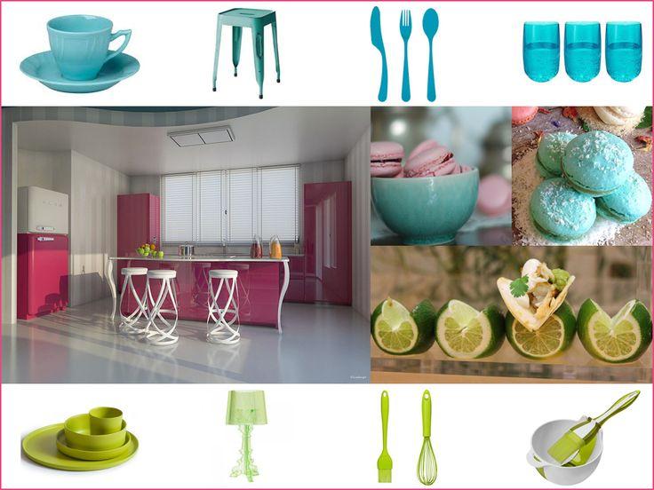 Rosa scuro, turchese e verde lime: una tavolozza vivace e gioiosa, ideale per un ambiente giovanile e moderno! Osa con gli accessori e..addio monotonia! Che ne dici? #pink #palette #colourfull #kitchen #interiordesign