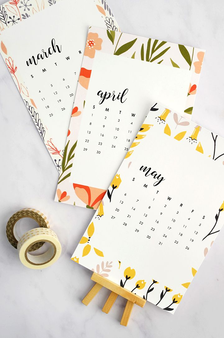 Free Printable 2018 Monthly Calendar. #freeprintable