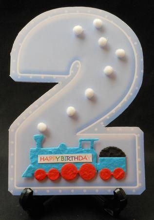 AGE 2 Blank Blue Birthday Shape Card on Craftsuprint designed by Janet Briggs - made by Michelle  Chivers