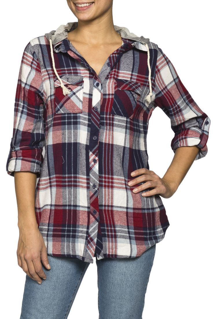 Girls Hooded Plaid Utility Long Sleeve Shirt