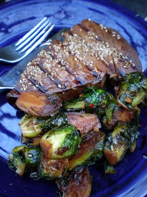 Sesame-Soy Ahi Tuna Steaks and Brussels Sprouts | Write a Pumpkin, Bake Some Prose