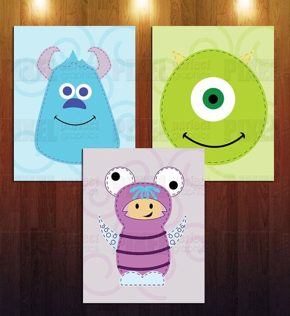 Set of 3 Monsters Inc. Nursery Wall Art by PixelPerfectGraphics, $25.00