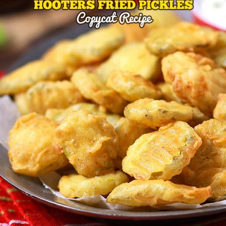 Hooters Fried Pickles Copycat Recipe Appetizers with dill pickles, buttermilk, large eggs, hot sauce, all-purpose flour, paprika, garlic powder, cayenne pepper, neutral oil