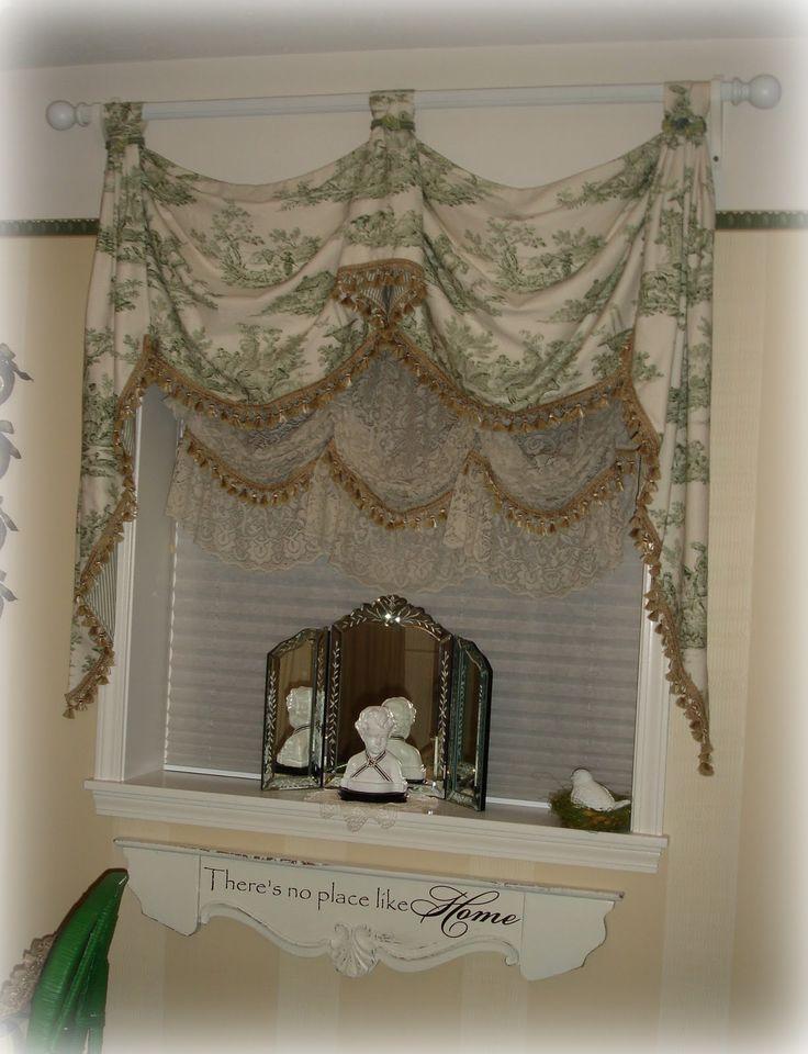 Green Toile Guest Bedroom Like The Layered Idea · Curtain ValancesToile  CurtainsKitchen ...