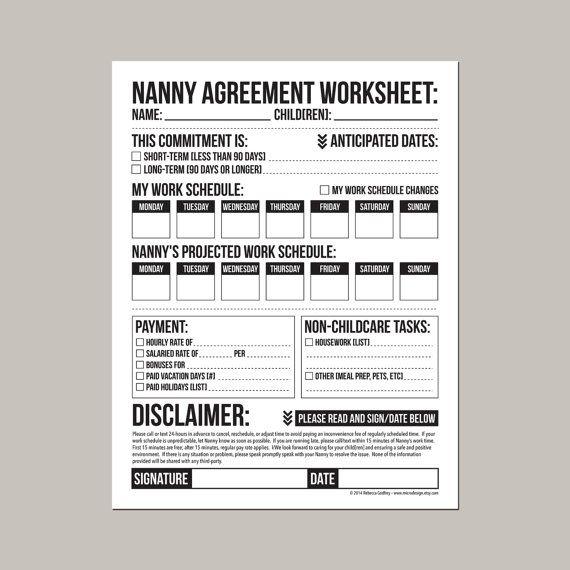 Nanny Agreement Worksheet: printable pdf sheet