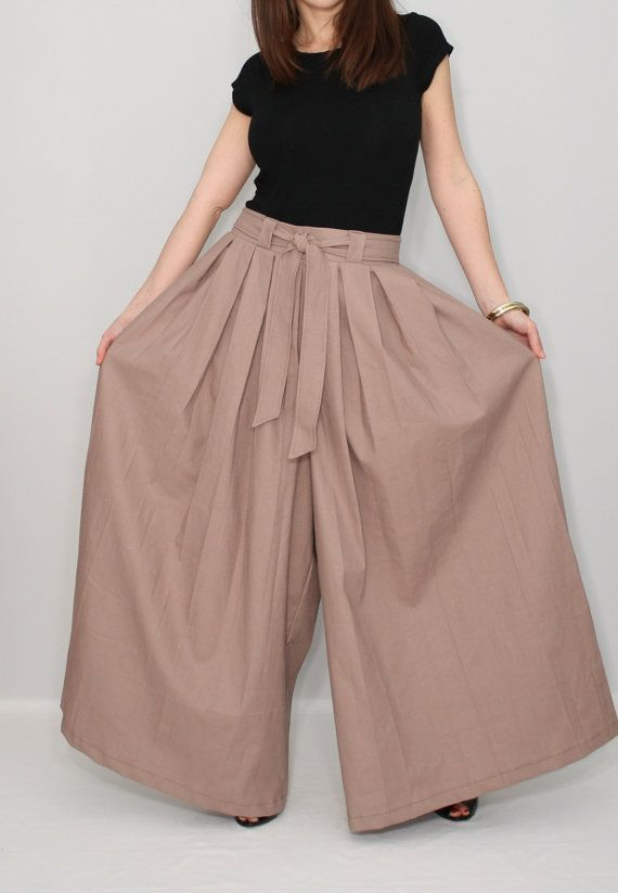 Leinen Hose die Damen Taupe weiten Hosen Bein Hose von dresslike