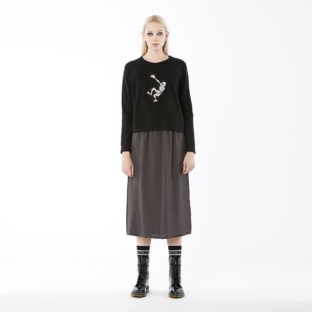 new arrivals: nom*d 'skeleton sweatshirt' in 'black cotton velvet'. available instore now! #nomd #rem #zambesistore