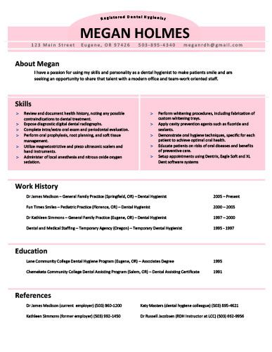 Dental Hygienist Resume Sample  Tips Resume Genius
