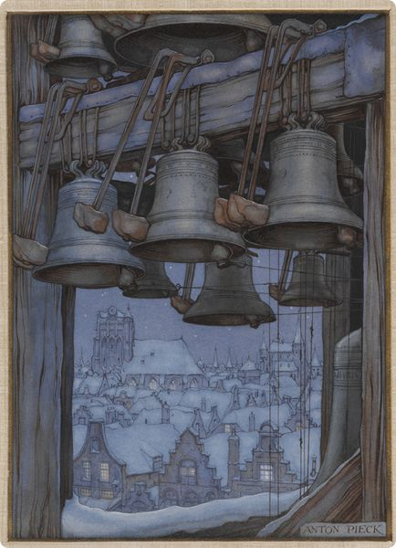 Klokkentoren - by Anton Peck - winter bells over a sleepy town