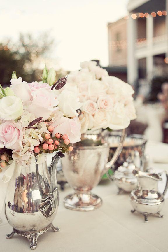 Vintage tea pots become pretty vases.  #wedding, #indianwedding, #pakistaniwedding: Wedding Inspiration, Idea, Vintage Wedding, Blushes Pink, Teas Pots, Teas Sets, Bridal Shower, Vintage Silver, Flower