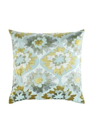 67% OFF Kevin O'Brien Studio Hand-Printed Devore Velvet Puff Flower Pillow (Pale Blue)