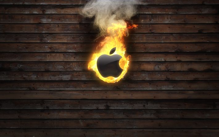 Download wallpapers fire, Apple, wooden background, logo, creative
