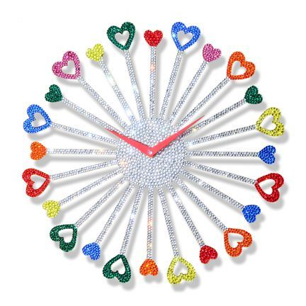 Crysto Multi Color Heart Wall Clock - Contemporary and classy, this multicoloured wall clock is a perfect way to add elegance to your home interior. Made from engineered wood, this wall clock is robust and long lasting. It will fetch you loads of compliments from your guests. #TheGameOfLove @fabfurnish