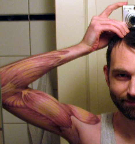 Anatomical arm muscle tattoo by street anatomy, via Flickr