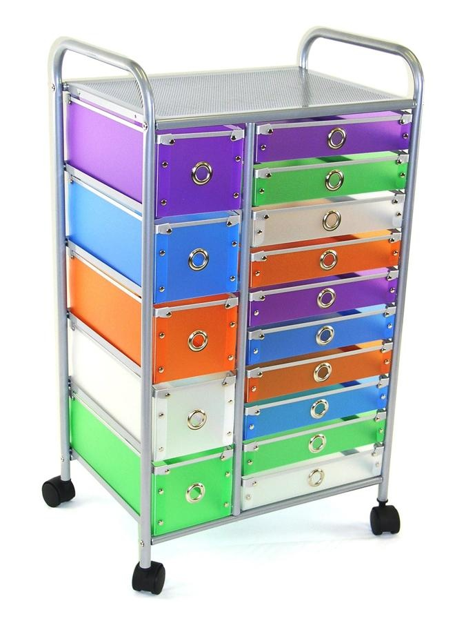 15 drawer multi colored rolling storage cart okizu craft for Rolling craft cart with drawers