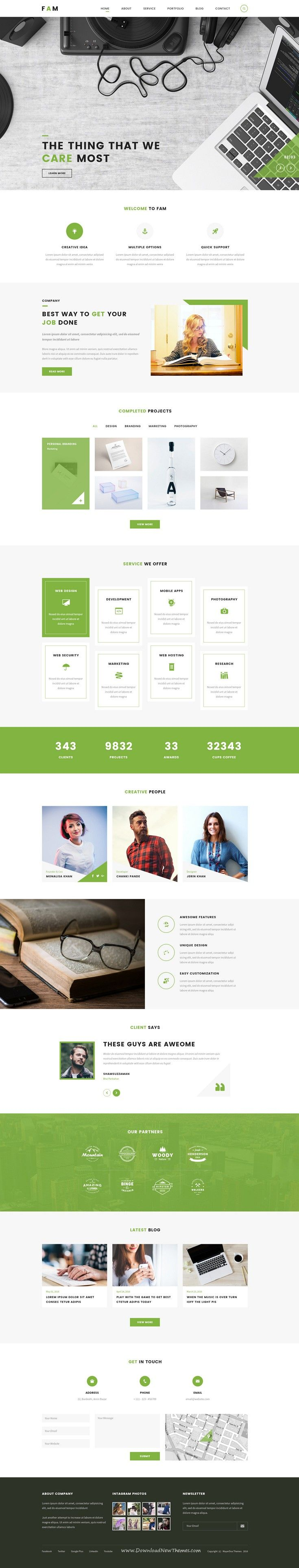 FAM is a clean, modern, stylish #psd #template for creative #agency or corporate companies website. Download Now!