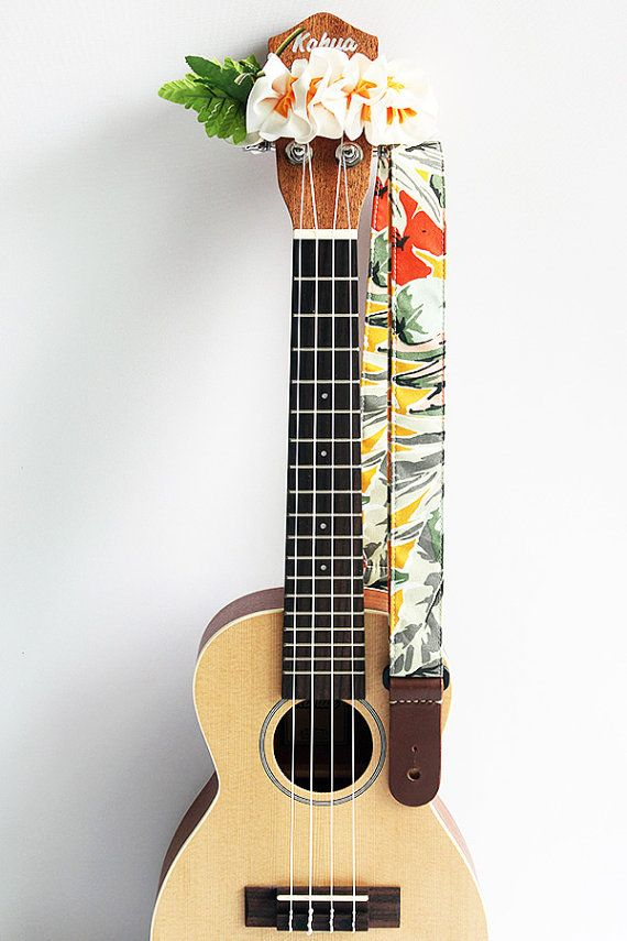 Ukulele strap & ribbon lei / tropical yellow / ukulele by ukuhappy