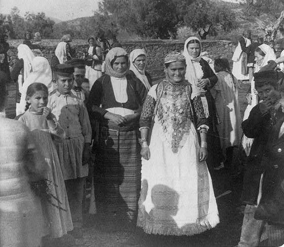 A girl dressed with the typical traditional costume of Messogia Attica Greece, worn  by the engaged girls. early 20th.