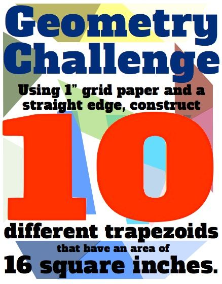 Go waaay beyond plugging and chugging area formulas for parallelograms, triangles and trapezoids: here are 15 different challenges to EVERY LEARNING IN YOUR CLASS to help them develop a deeper understanding of polygons and calculating their area.