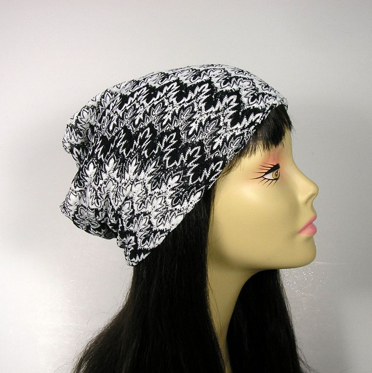 Black and White Knit Slouchy Hat Custom Lightweight Slouch Hat Slouchy Tam Slouchy Beanie Hat for Hair Loss Chic Chemo Caps for Women Hats