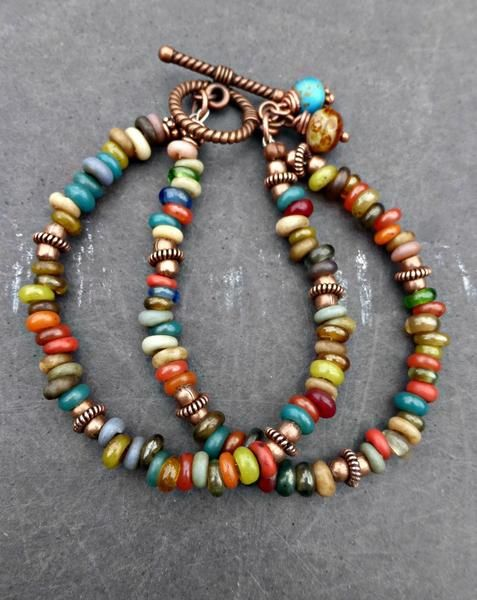 Indonesian glass and copper metal bracelet. Earth tones, bohemian. - - McKee Jewelry Designs - 1