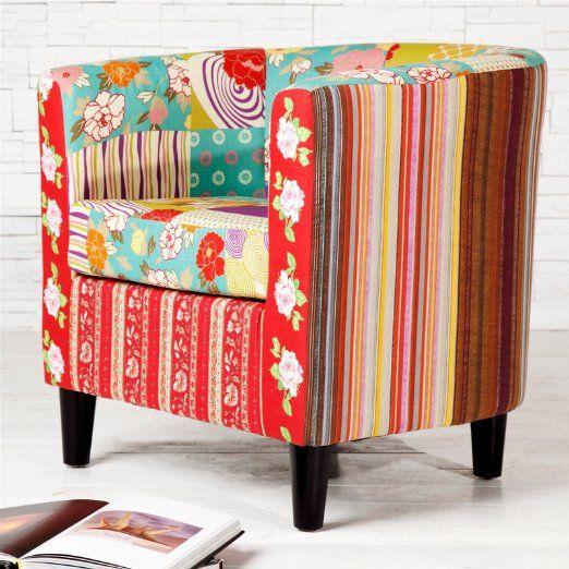 """CLUBSESSEL """"FLORAL"""" Patchwork Blumen Sessel fröhlich bunt gemustert von Xtradefactory"""