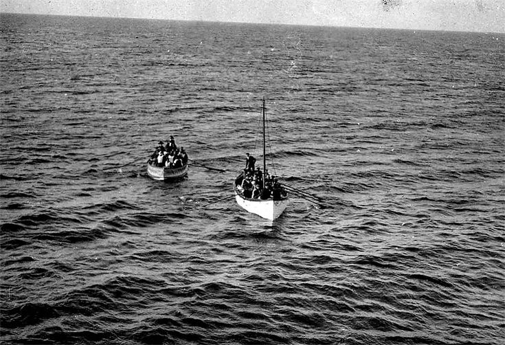 Survivors of the RMS Titanic approach the RMS Carpathia on April 15, 1912. (The New York Times)