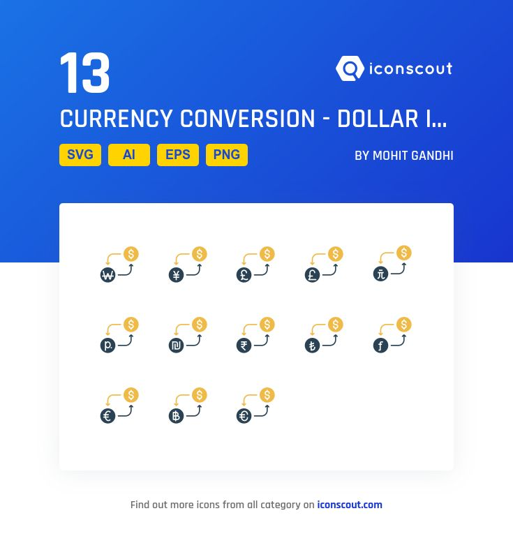 Currency Conversion - Dollar   Icon Pack - 13 Solid Icons