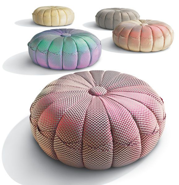 PUNTASPILLONE POUF #missonihome design by MissoniHome Studio. Upholsterynon-removable fabric