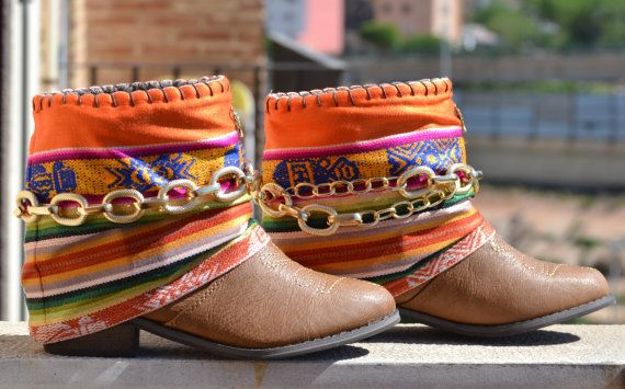 COWBOY BOOTS, BROWN Boots, Women Boots, Ethnic Boots, Apache Boots, No Leather, Bohemian Boots, Ankle Boots, Handmade Boots, Aztec Boots