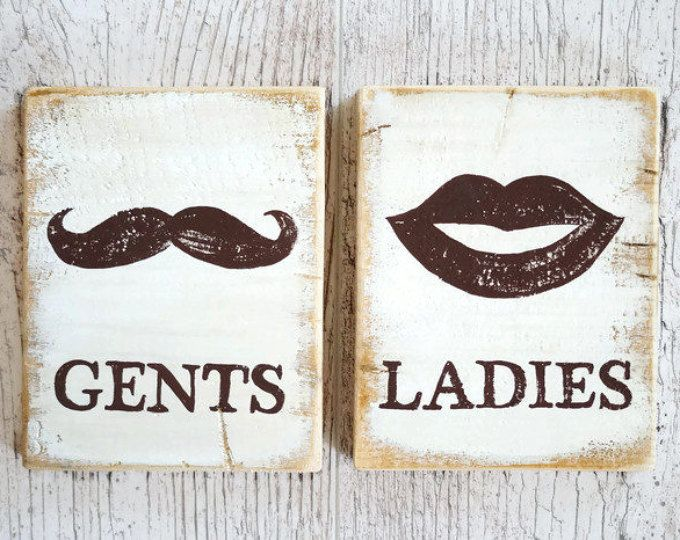 Wood WC sign Toilet door signs Male and Female set Restroom decor Cabin sign Eco friendly