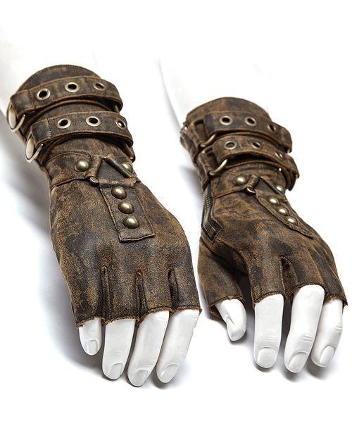 Punk rave mens steampunk engineer gloves – brown -…
