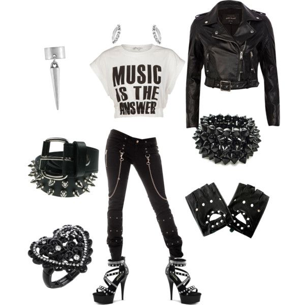 punk rock chic dark black concert nana rebel by zillpatel on Polyvore featuring Glamorous, River Island, NLY Accessories, Betsey Johnson, Crafted and Maria Francesca Pepe
