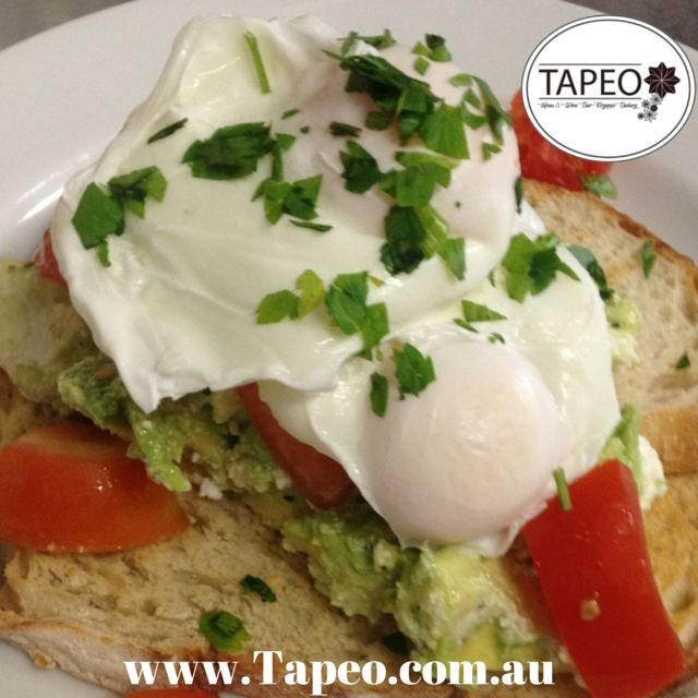 Here's #poachedeggs #avocado & #tomato on #sourdough. Make your own #lunch #meals at Tapeo: 82 Redfern St, Redfern NSW. Check us out at http://www.Tapeo.com.au & follow us on FB http://FB.com.tapeo.au #Tapeo #tapeoredfern #tapeocafe #tapeosydney #cafe #restaurant #redfern #sydneycafe #sydneyrestaurant #makeyourown #sydney