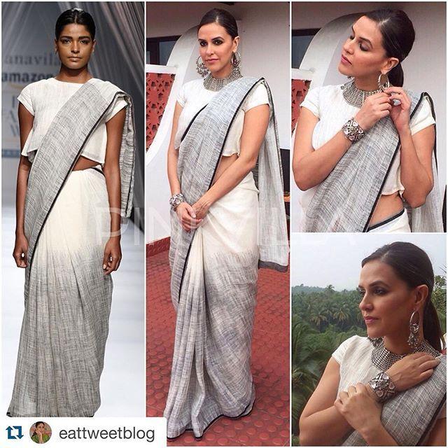 Neha dhupia in our daylight jamdani linen sari ... @Anavila_M Saree and @AmrapaliJewels Jewellery