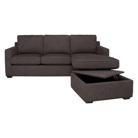 Flipp 3 Seat Sofa & Chaise Ottoman (Storage) Casbah Pepper