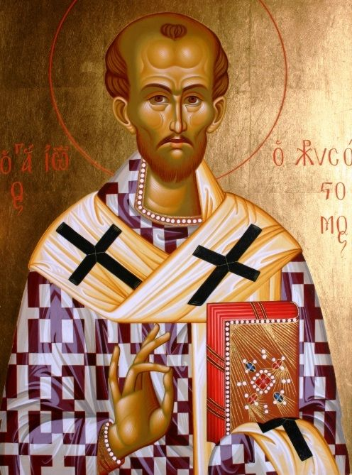 """John Chrysostom (4th cent) gave up philosophy for monasticism, which he named """"true philosophy,"""" and wrote about it 4 years in the wilderness. Antioch Deacon, then Archbishop of Constantinople, J preached so well he was named """"Golden-Tongued"""" (""""Chrysostomos""""), provided daily for >3,000 poor, guarded the oneness of the church, wrote Liturgy and prayers. Opposing an unjust empress, he was exiled. An earthquake occurred the very night; he was returned, re-exiled, and Hagia Sophia was burned."""