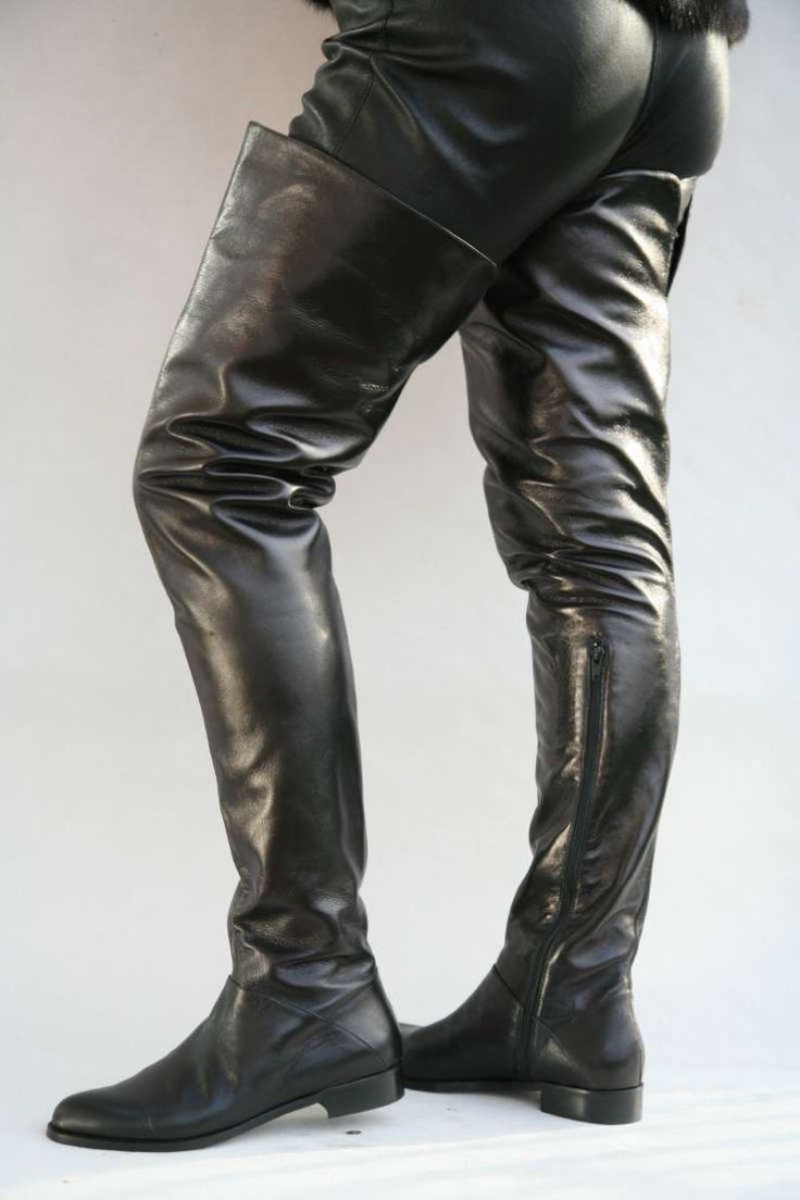 Schwarzer Overknee Lederstiefel | Lederstiefel