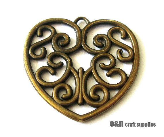 Antique brass filigree pendant double sided heart pendant by OandN