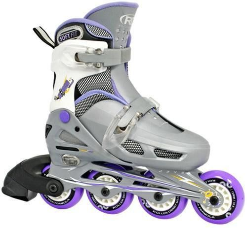 Roller Derby Skate Cobra Girls Adjustable Inline Skates $115.00  Small:  Sizes junior 12-1 Medium:  Sizes: 2-5 Kid's inline skate Soft wheels so kids can roll over stuff easier, easy lacing system easy for kids to attach and remove Allows them get the skates on in a flash.