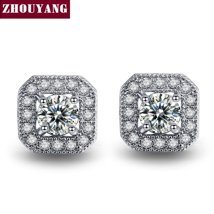 Luxury Fashion Design  White Gold Plated CZ Square Wedding Stud Earrings for Women ZYE839