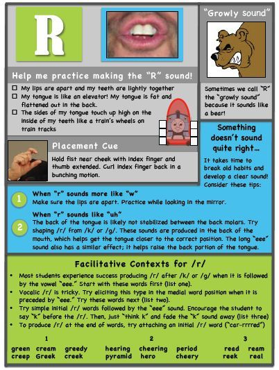 """Ms. B the SLP: """"R"""" Articulation Handout. Pinned by SOS Inc. Resources. Follow all our boards at pinterest.com/sostherapy/ for therapy resources."""