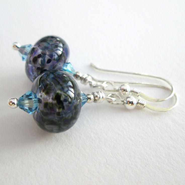 Glass earrings ~ pendant dangle earrings, sterling silver handmade gifts for girlfriend BFF friend, Mothers Day ideas, Retirement gift by BlueBoxStudio on Etsy