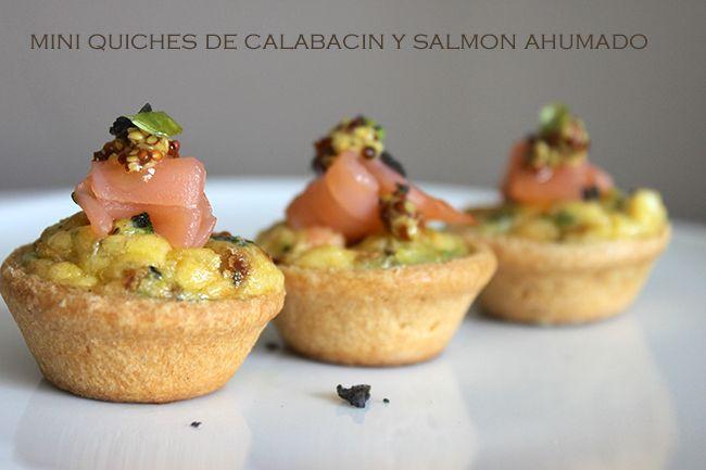 Mini quiches de calabacín y salmón ahumado.